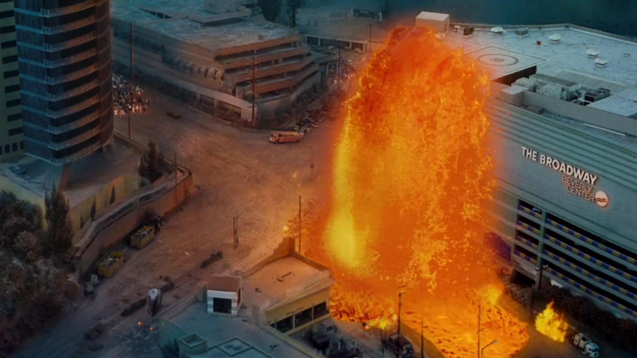Volcano  (1997), lava erupts.