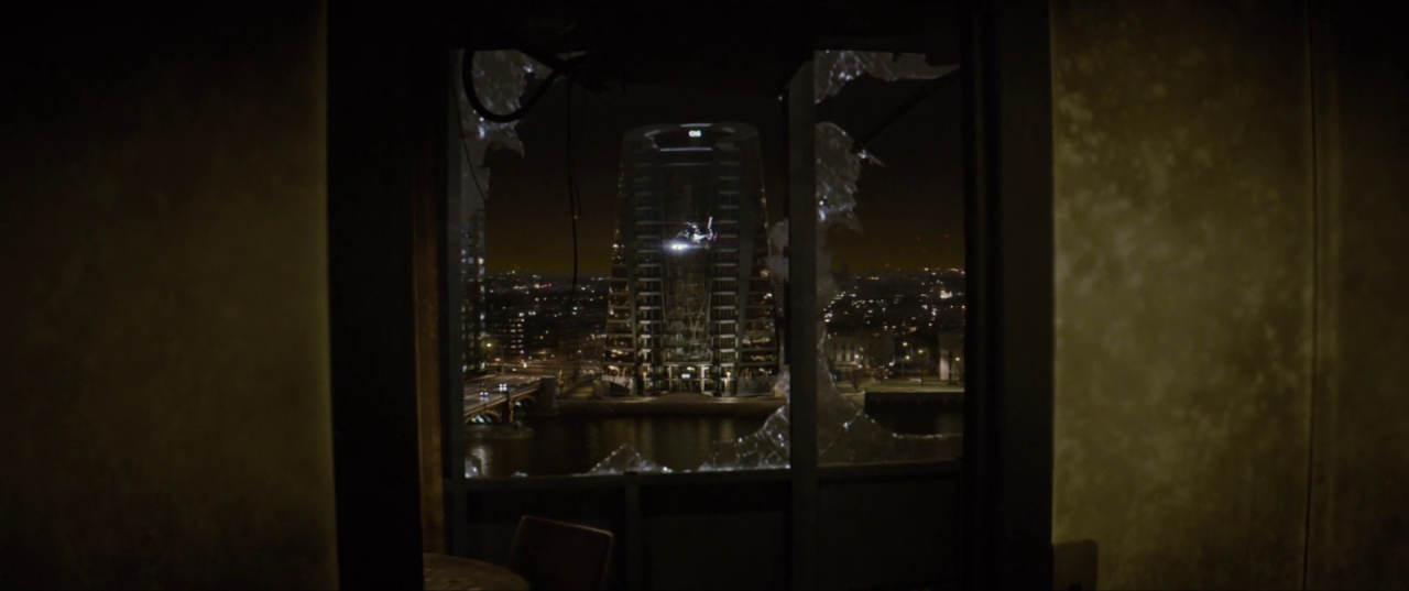 Spectre  (2015), CNS Building, seen through a ruined window of the SIS Building.