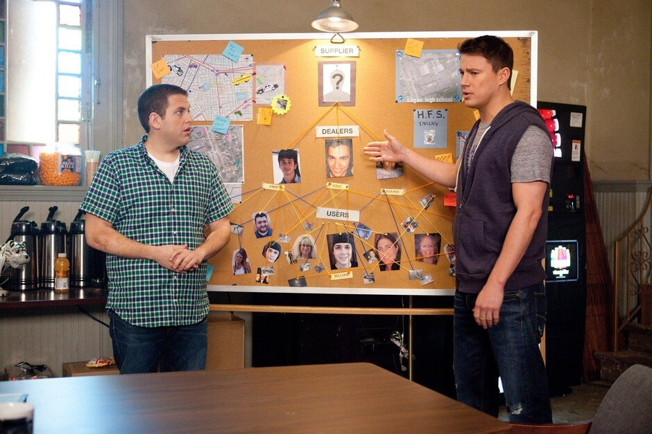 """""""Investigation"""" boards from  22 Jump Street  (dir. Phil Lord and Christopher Miller, 2014)"""