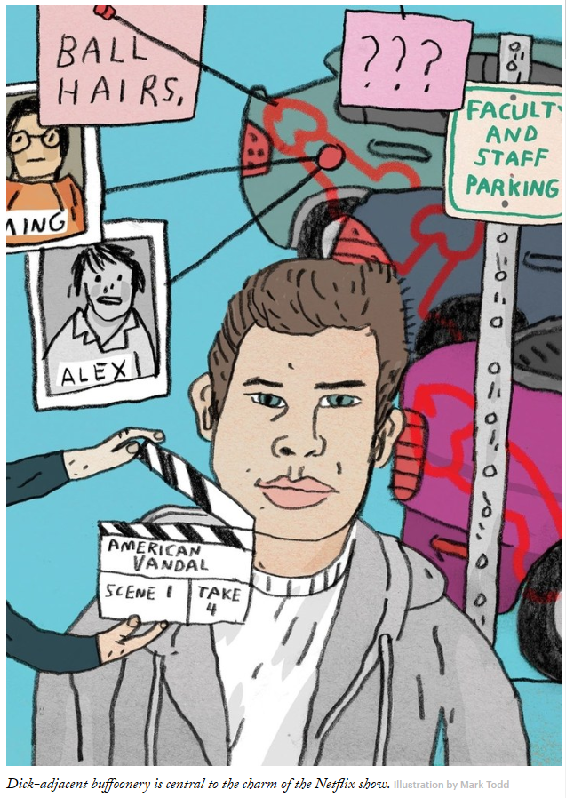 Mark Todd's illustration for the  New Yorker  coverage of Netflix's  American Vandal  (Netlfix, 2017)