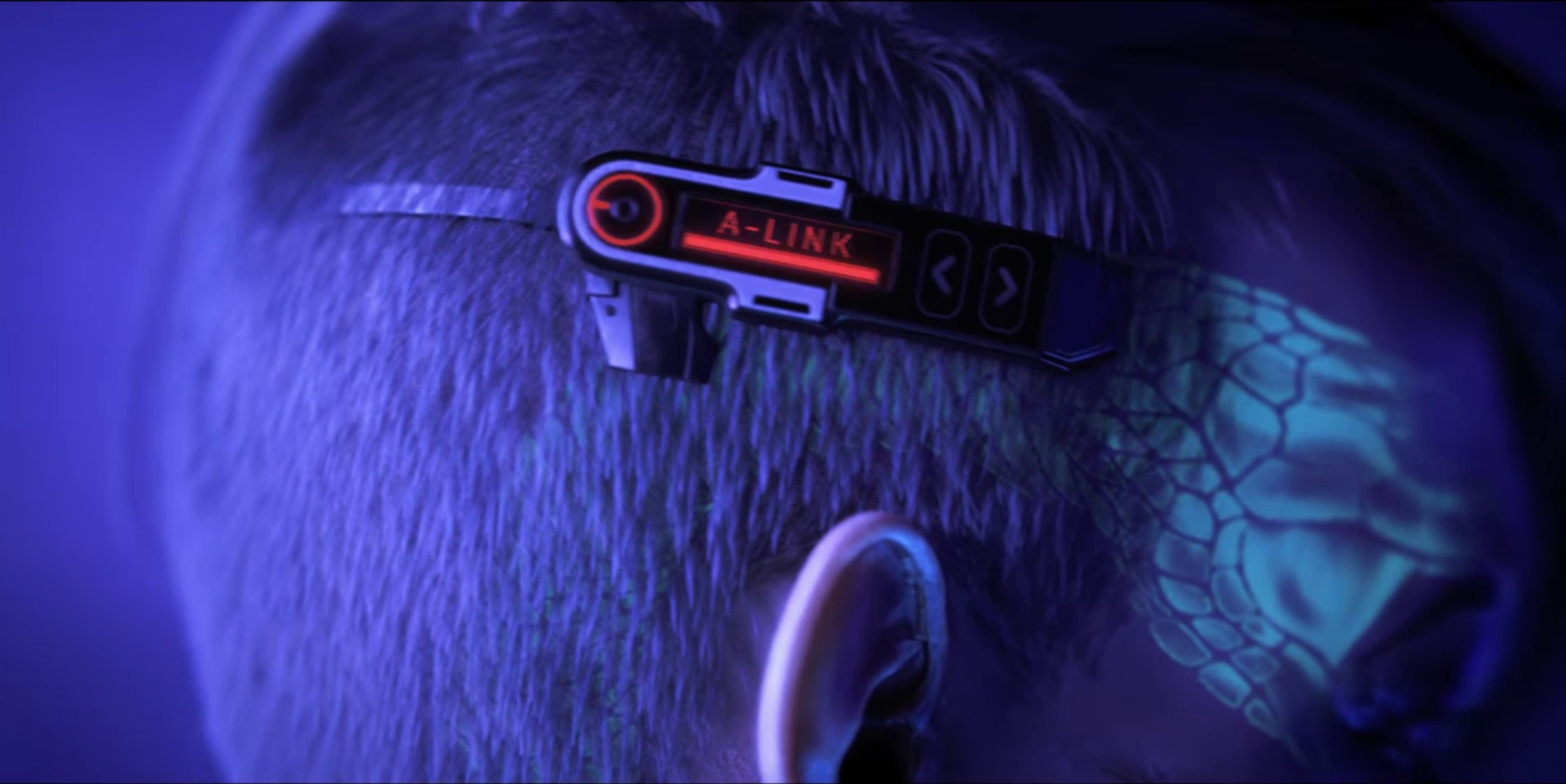 """Sonnie's Edge,""  Love Death + Robots  (Netlfix, 2019), Sonnie's headpiece, now red, typically indicating  off"