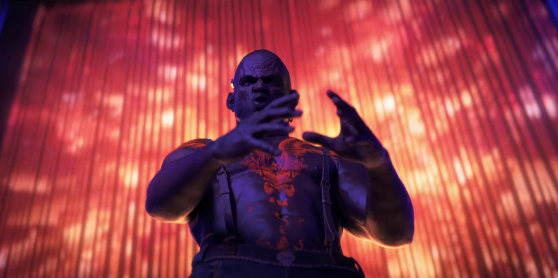 """Sonnie's Edge,""  Love Death + Robots  (Netlfix, 2019), Simon mimes pushing a head toward his crotch"