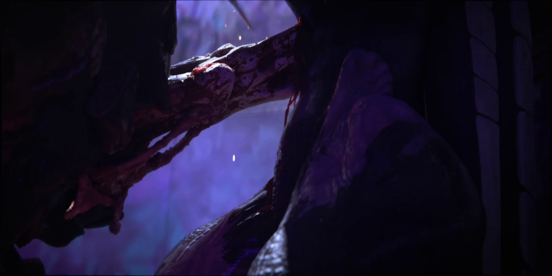"""Sonnie's Edge,""  Love Death + Robots  (Netlfix, 2019), Turboraptor penetrates Turboraptor with his blade"