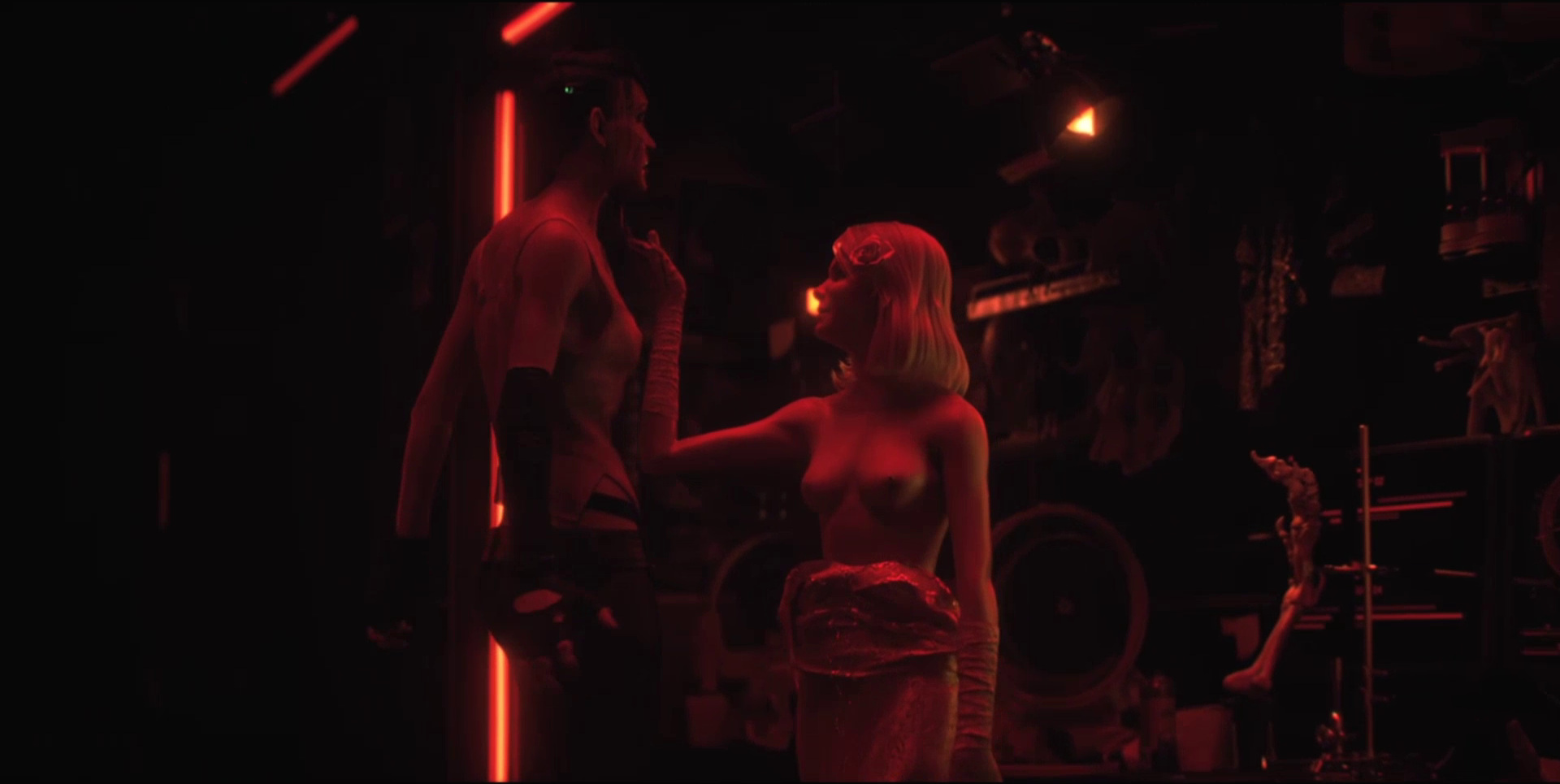 """Sonnie's Edge,""  Love Death + Robots  (Netlfix, 2019), Sonnie, distracted, is impaled"