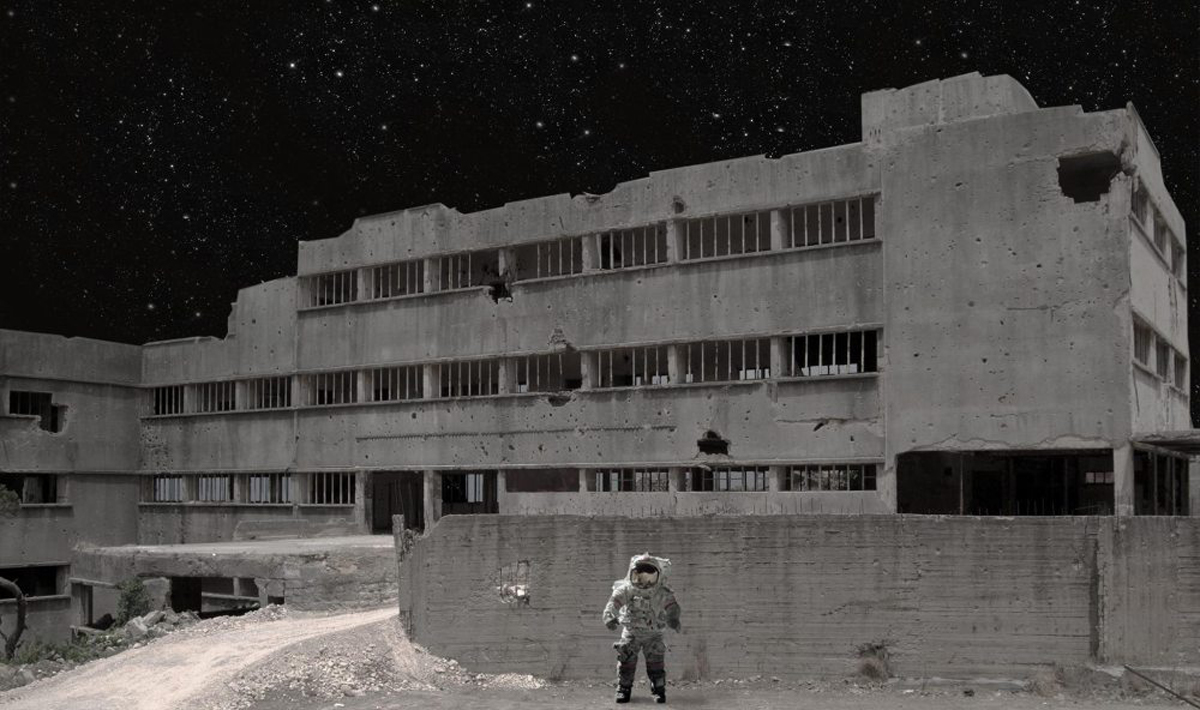 "Michael Uhall, ""Astobrutalist Site Concept"" (digital collage, 2017)"