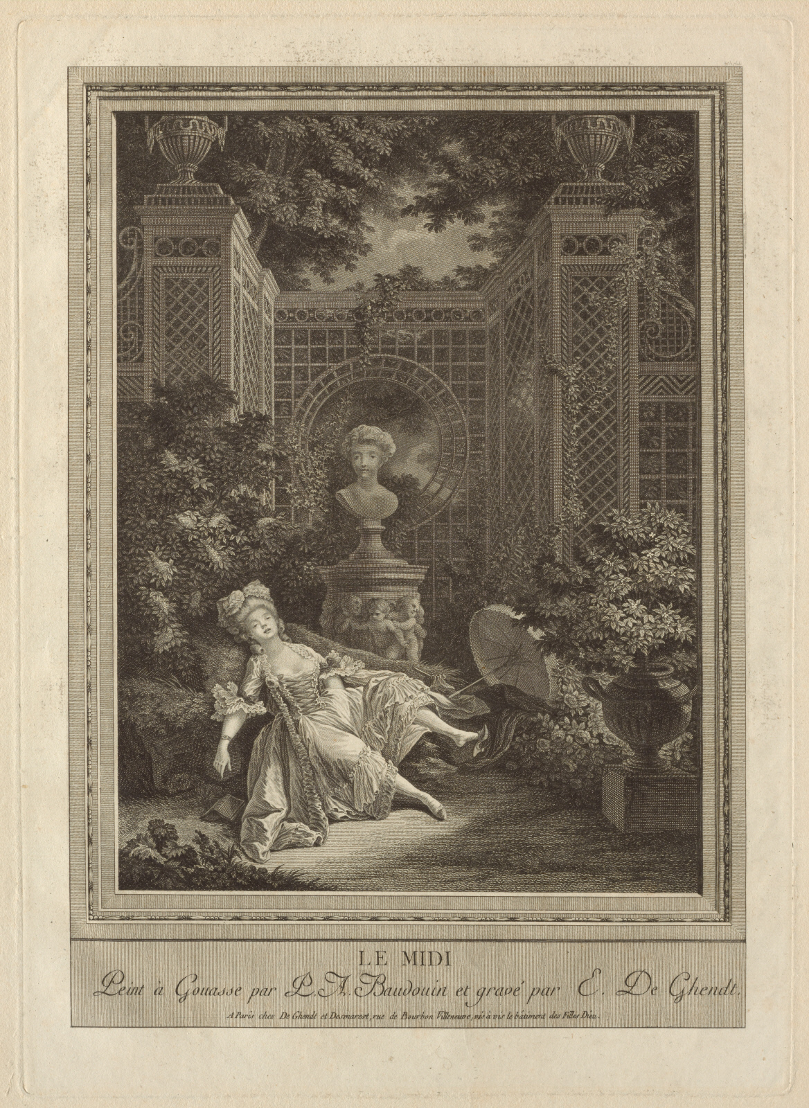 Pierre-Antoine Baudouin's (1723-1769)  Le midi,  an etching which explicitly links women's reading to eroticism (even before the 1790s)
