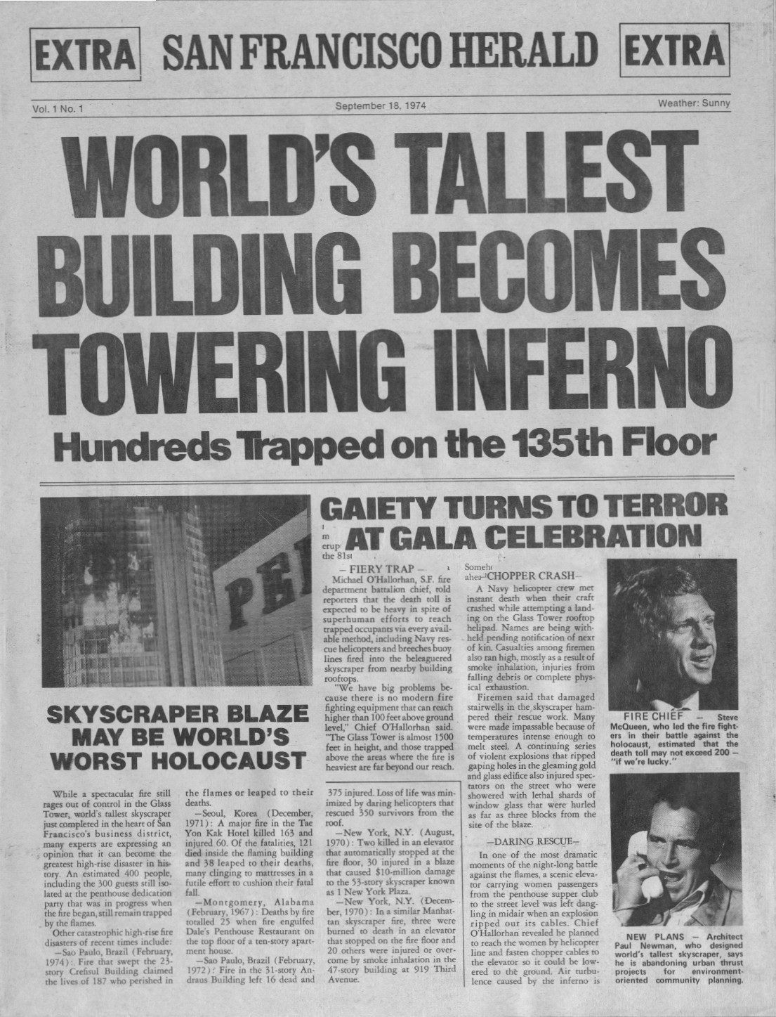 The Towering Inferno , promotional newspaper