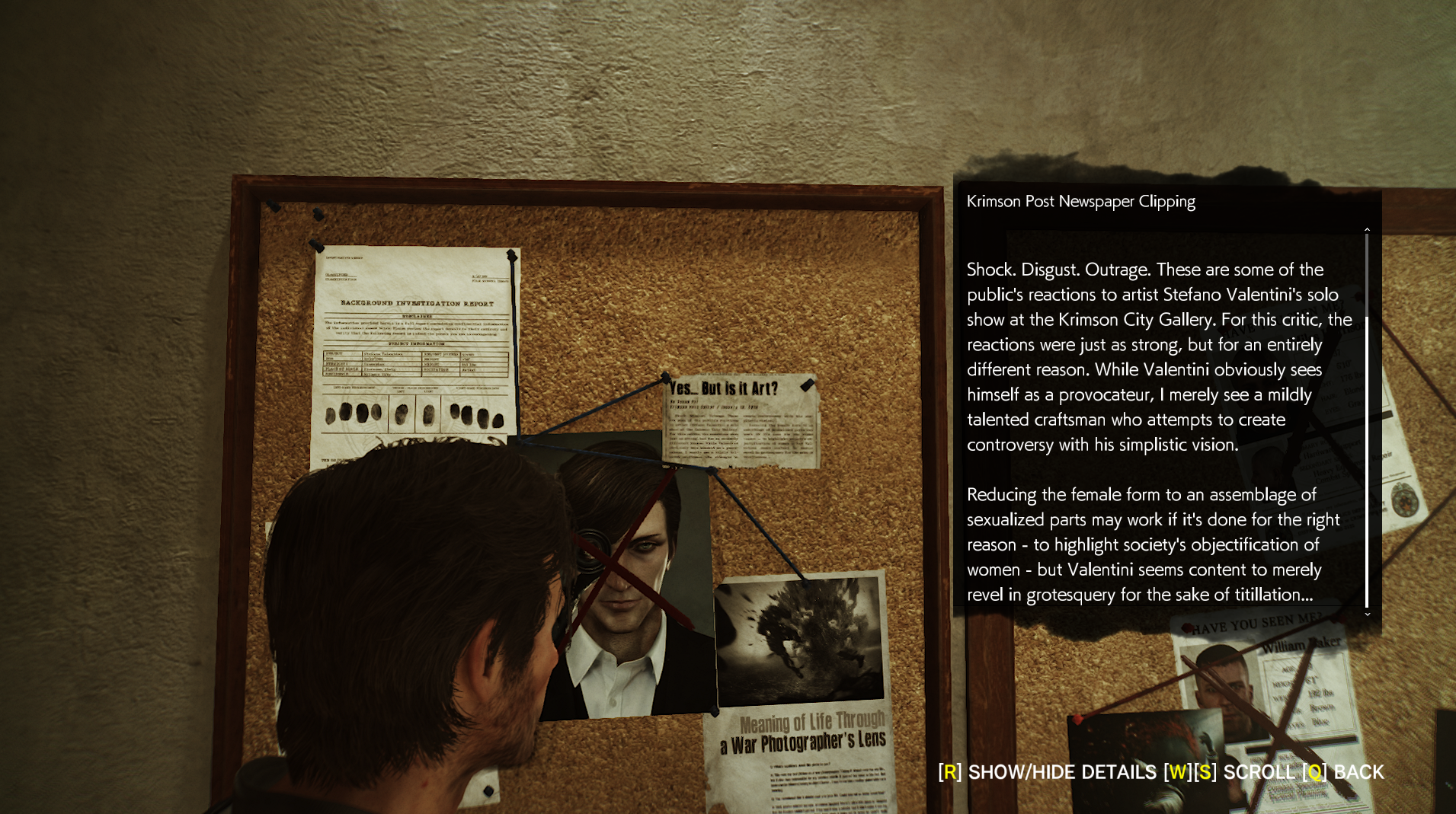 The Evil Within 2  (Bethesda, 2017), one of the clippings on Sebastian's string board, which can be seen as early as Chapter 3