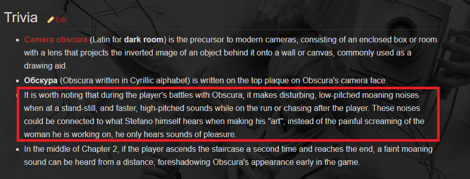 """Trivia"" about Obscura, from   The Evil Within  wiki"