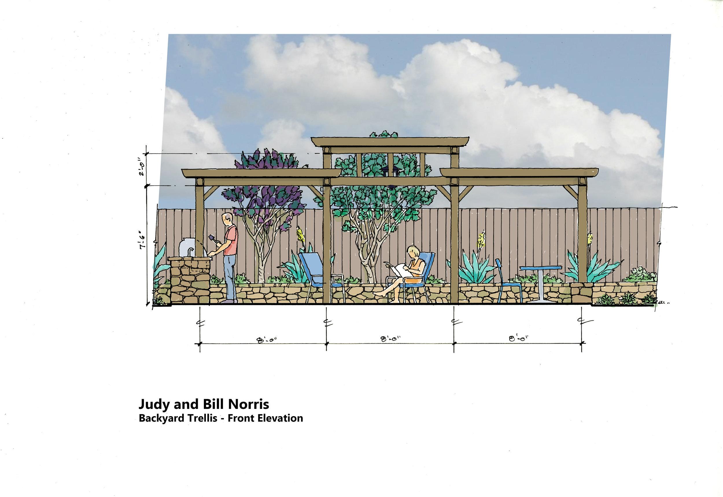 Norris backyard and trellis
