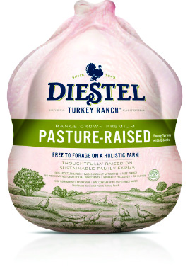 Pasture-Raised   The Co-op is particularly pleased to present you with Diestel's Pasture-Raised turkeys. Diestel's  farm was the first turkey farm in the country to be ranked Step 5+ by the Global Animal Partnership (GAP)! These turkeys spend their entire lives foraging freely in lush fields within eyesight of Yosemite National Park. This is a previously frozen bird. Learn more about the Pasture-Raised Project here:  http://diestelturkey.com/diestel-products/the-diestel-family-of-turkeys/