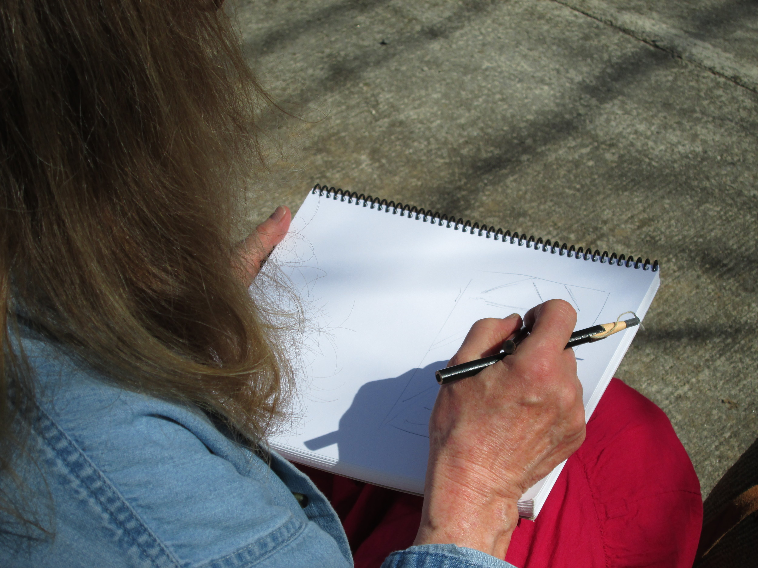 Here I am doing some plein air sketching on Sunday morning.
