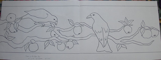 Original drawing for  Crows in the Apple Tree .