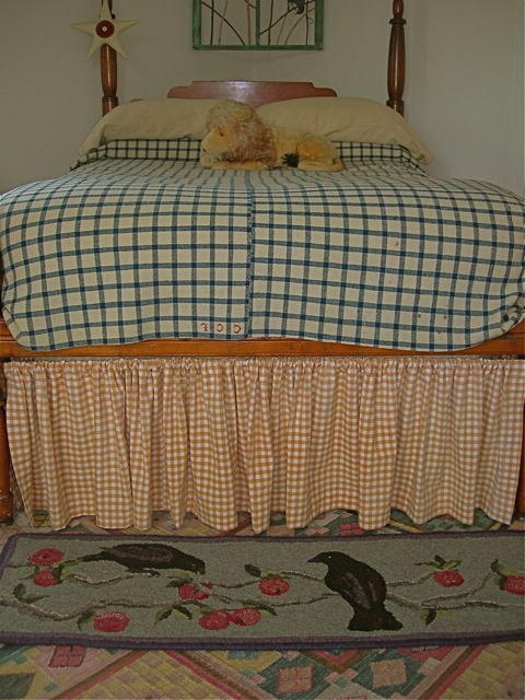 Crows in the Apple Tree  table runner as a rug in the guest room.