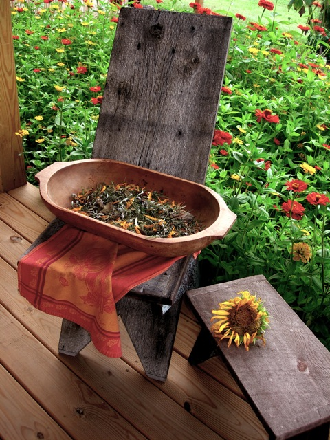 Fall potpourri drying on the back porch.