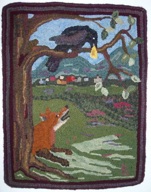 I took my  The Fox and The Crow  rug to hang in the show.  This pattern is available on the Shop page of my website.