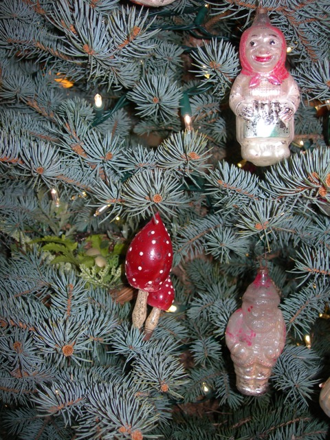 Many of these century-old ornaments are almost paint-less, but they are still precious to me.