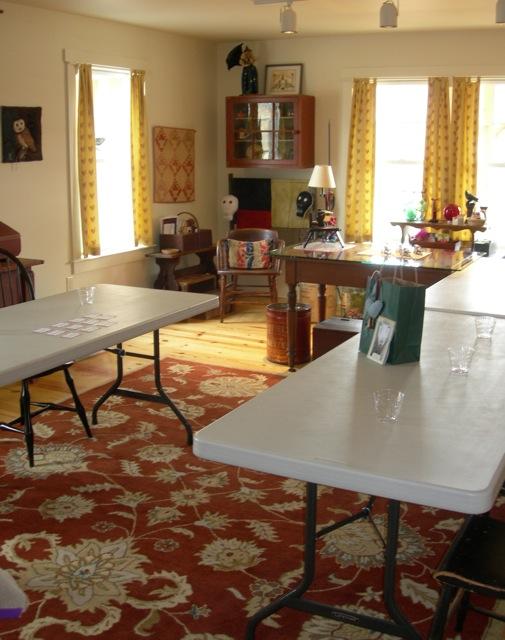 Setting up my studio for twelve rug hooking students.