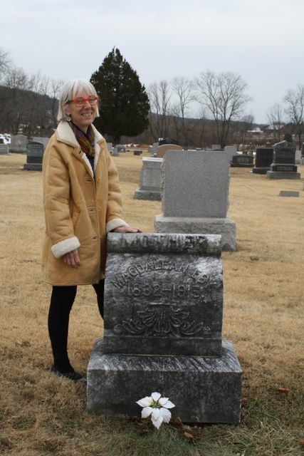 """While in the neighborhood, Susan visited the grave of Magdalena Briner Eby, who """"resides"""" four miles from Crow's Foot Farm."""