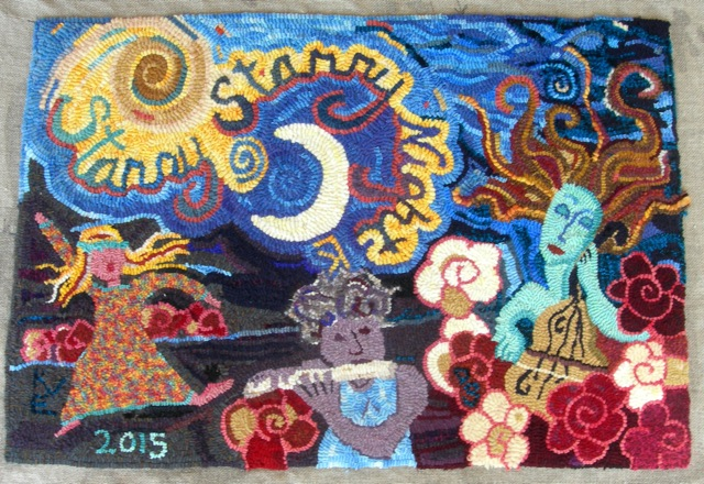 Here's my rug. I did the upper left area with the night sky;Debra did the right side (that's me playing the cello in my next life, since I don't have time in this one); and Kathleen did the other two Meyvns (Debra playing the flute and Kathleen dancing to the music). I love that we are all represented on my rug!