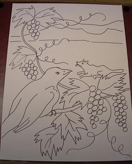 The Fox and The Grapes  pattern drawing 18 x 24