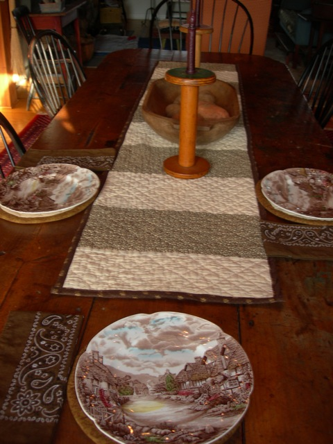 Planning a country Thanksgiving table.