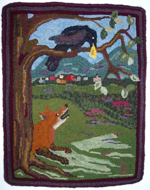 The Fox and the Crow.   A fun rug to hook.