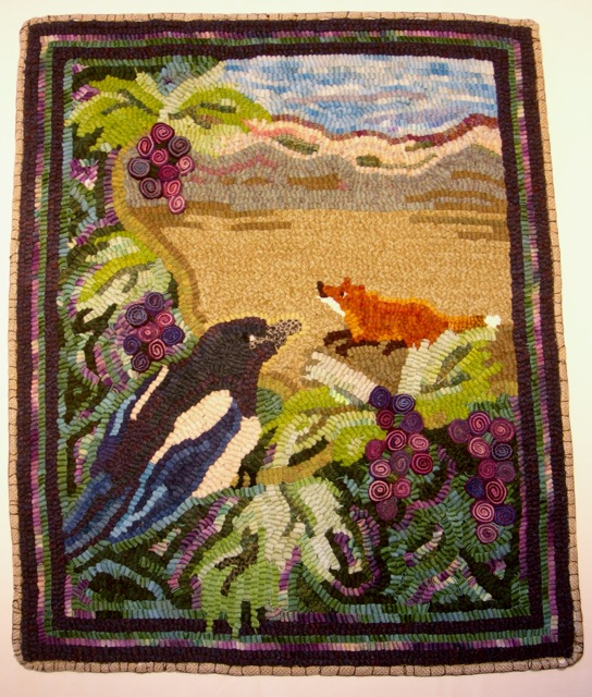 The Fox and the Grapes , is one of my Aesop fable rugs featuring standing-wool grapes. Oregon grows some delicious grapes and makes fantastic red wine. Pinot noir is my personal favorite.
