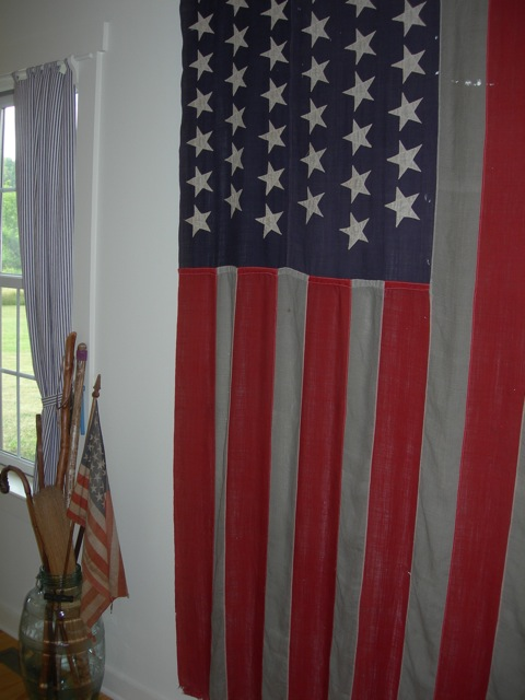 I bought this 45 star flag at a flea market in the 1970s.  It appears to be made from a lightweight linen.  I love the not-quite-white stripes.  The 45 star flag was flown from 1896 - 1908.