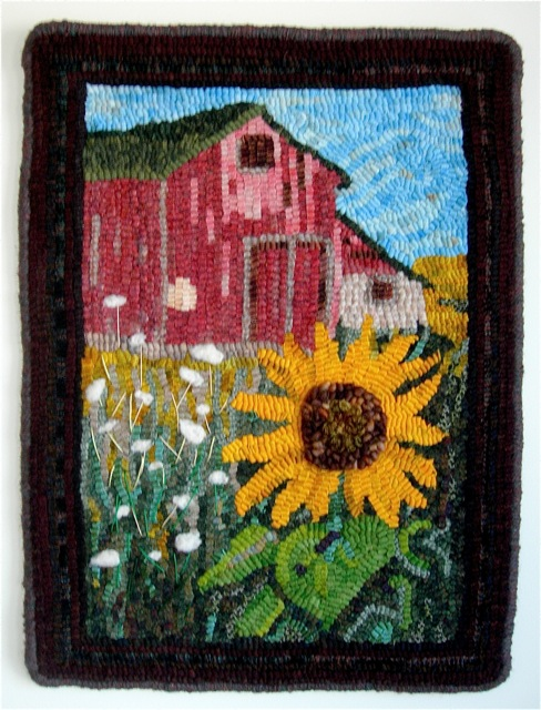 My rug,  Barn Meadow Flowers , adapted with permission.