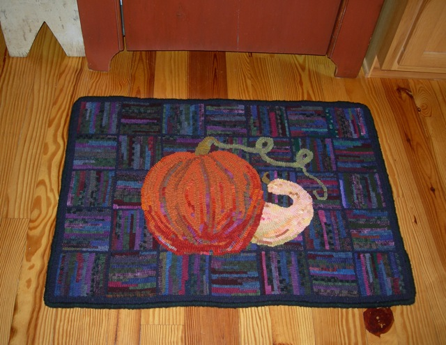 Fall Under Foot adds a bit of autumn to the kitchen.