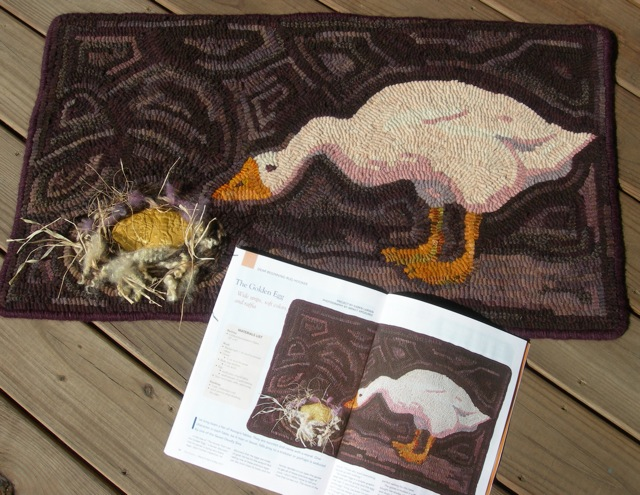 The Golden Egg  is featured in the March/April/May '17 issue of Rug Hooking Magazine. Pattern available on my Shop page.