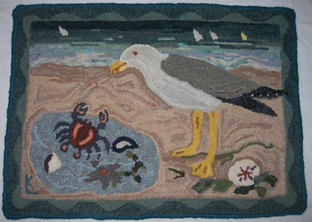 Cape Cod Tidal Pool,  a rug I donated to a fundraiser.