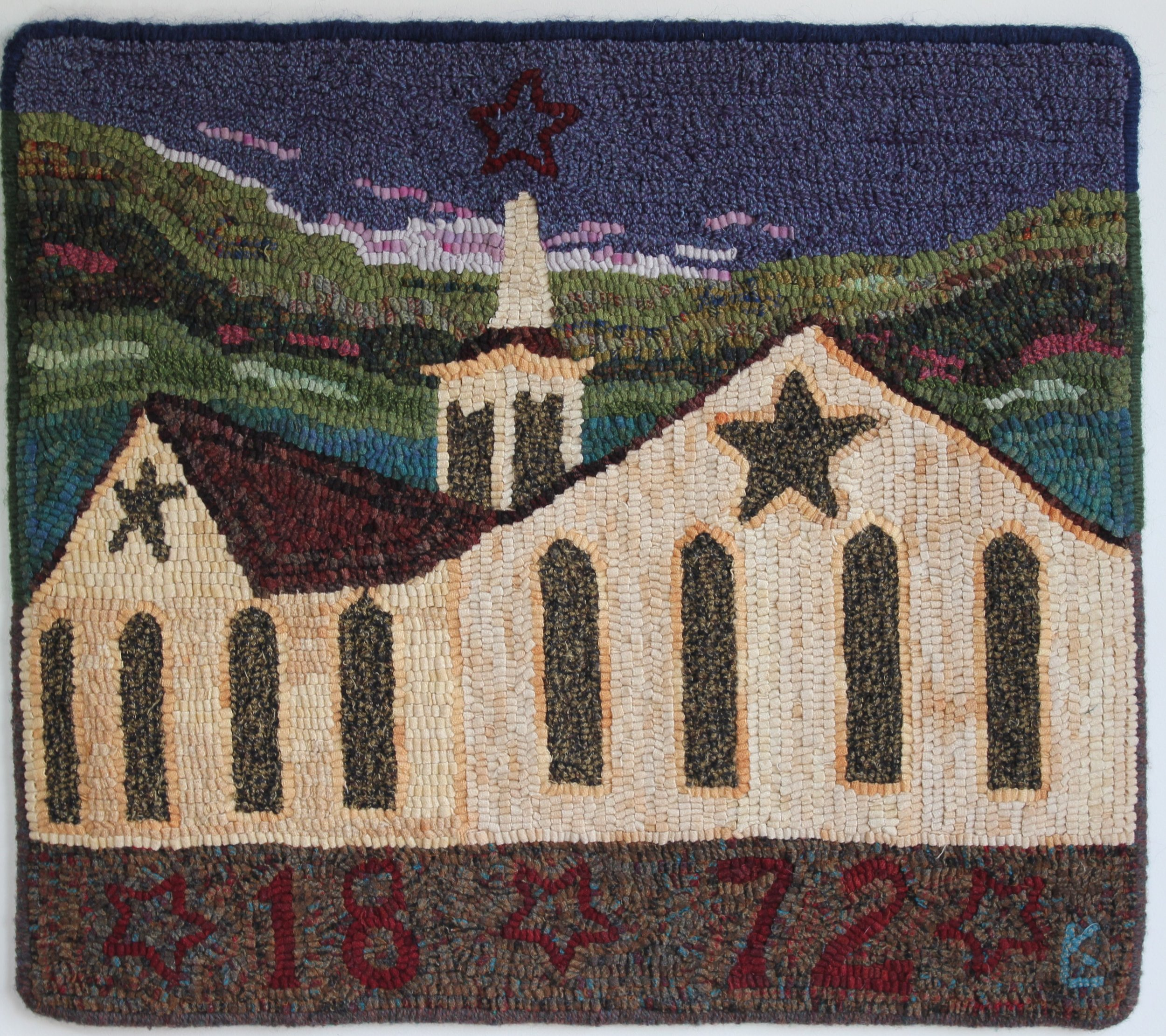 """Star Barn 1872 - finished rug 24 1/2"""" x 28"""" price upon request"""