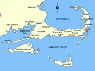 The recognizable shape of Cape Cod, Massachusetts