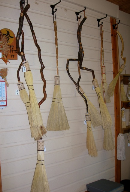 A few of the creative hand-made brooms at Campbell's Broom Shoppe.