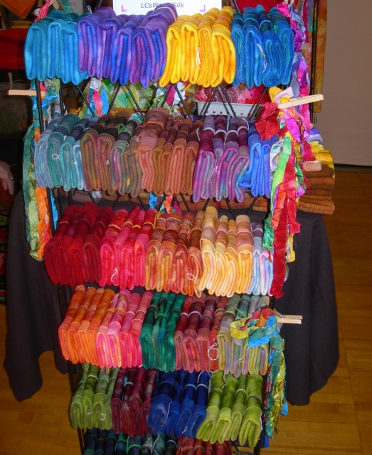 LC WoolnSilk's display of eye catching colors and texures.