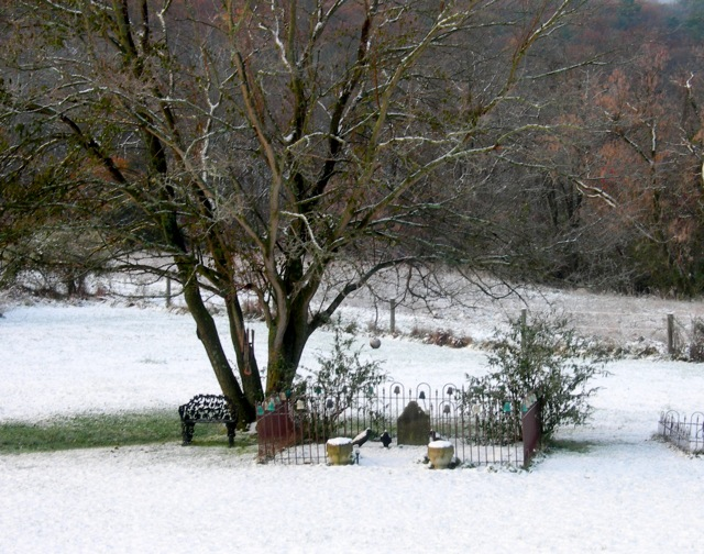 The beginning of the beautiful snowfall.  Daniel Peifer, the German farmer who worked this land over 200 years ago, lies beneath his mulberry tree.