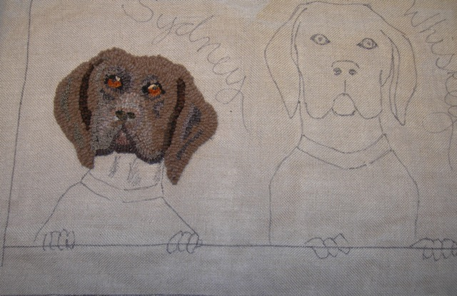 Sydney, the German Shorthaired Pointer, is a work in progress. I'll do Whiskey before making any more changes.