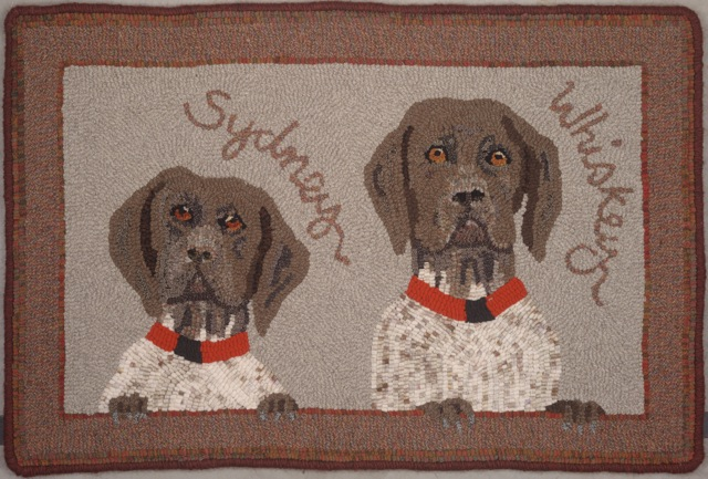 This is my recently completed auction donation rug.  It now lives on Cape Cod. [photo by Impact Xpozures]