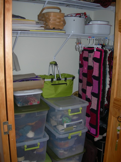 """This closet holds dyeing supplies, binding materials and yarn, and you can see that I hang some smaller rugs with """"clippy hangers""""."""