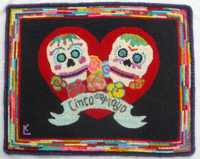 I chose a happy design with lots of color.  I don't know about you, but I think anything Mexican needs sugar skulls!