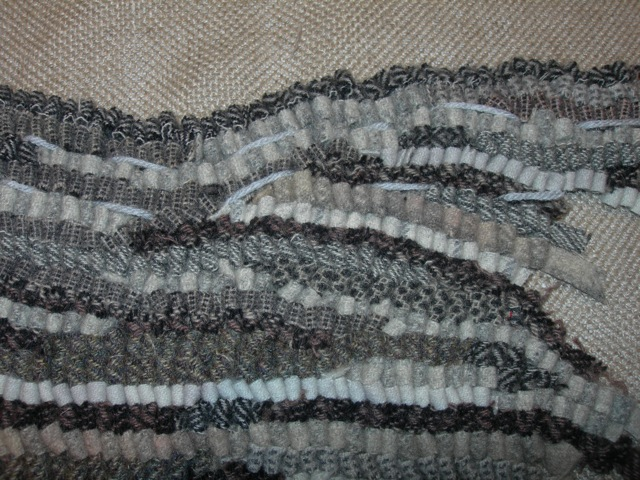 Different wools, different cuts, and an uneven hooking technique [my usual style] will create movement and texture.