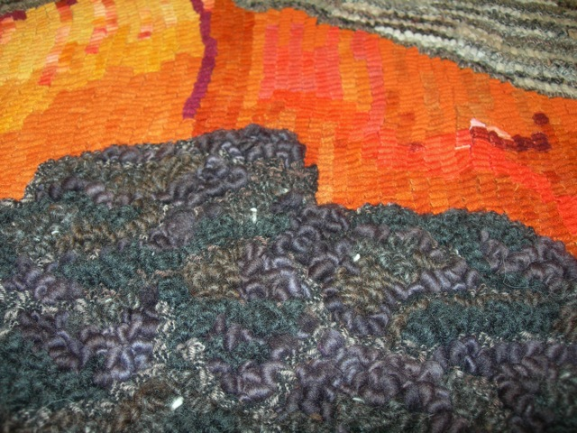 A close up of the hooked yarn billowy pahoehoe lava.