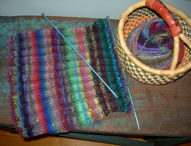 Noro  yarn on the needles.
