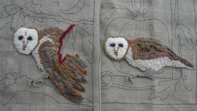 Waxing Crescent owl on the left. Harvest Moon owl on the right.