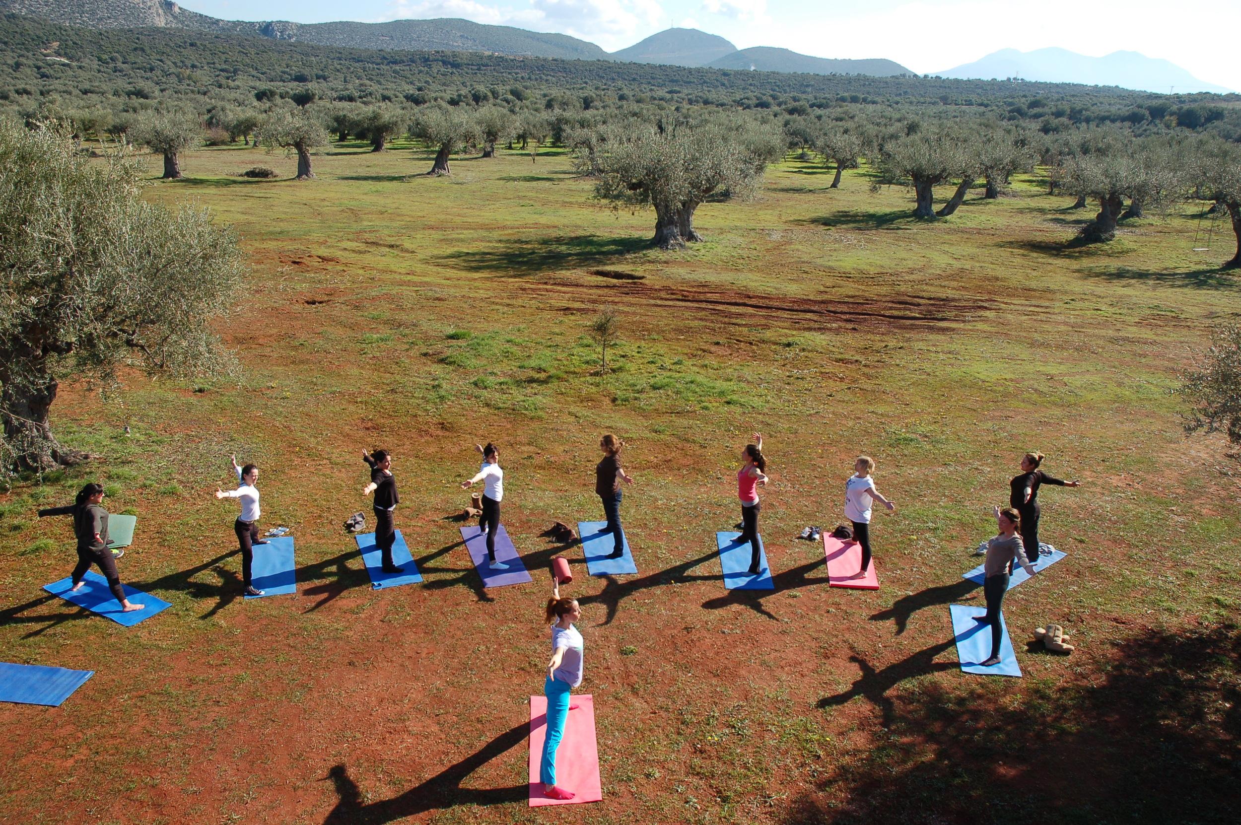 Yoga at the farm grounds.JPG