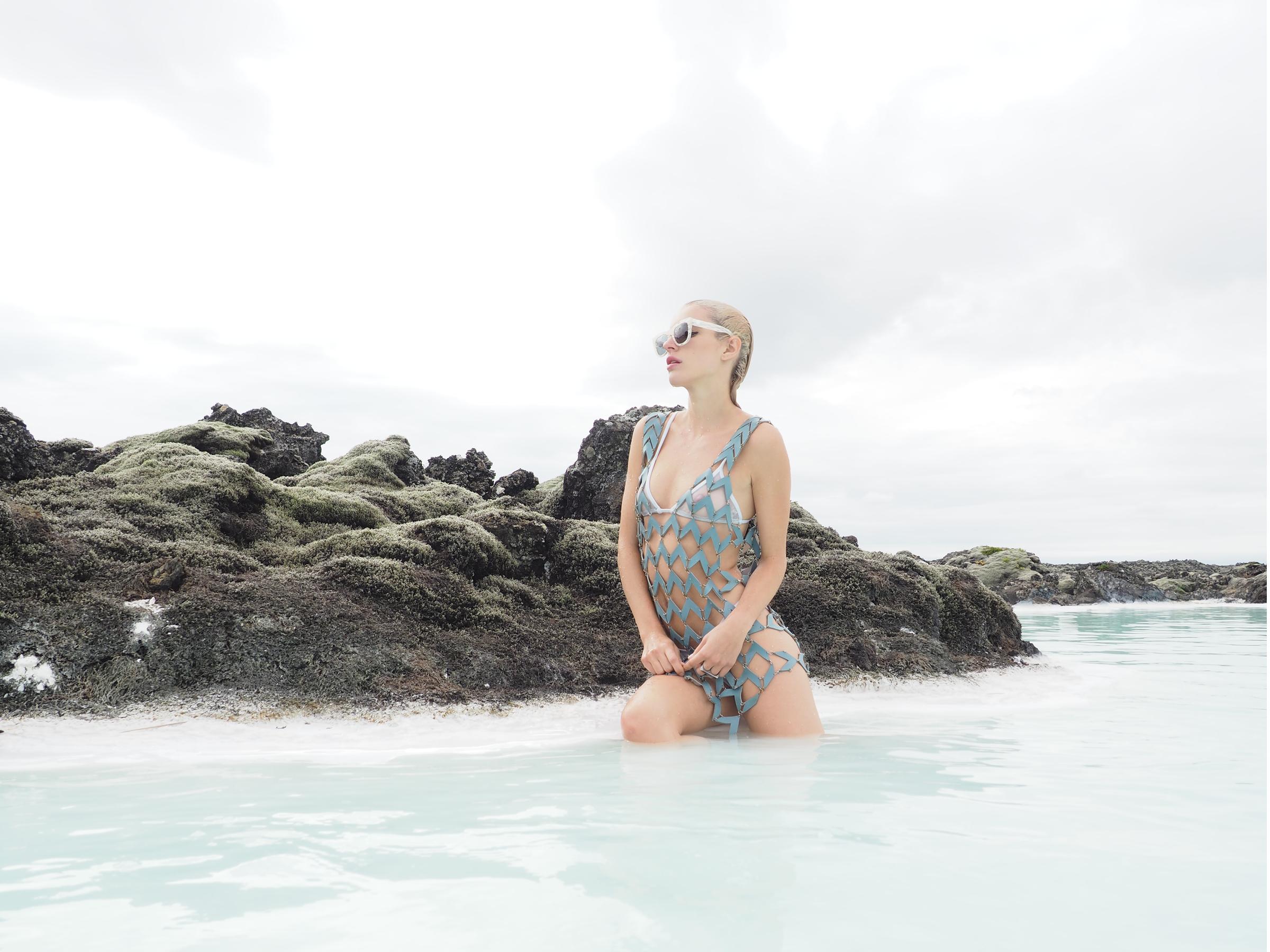 Chloe is wearing GALS MARINA Sunglasses by RETROSUPERFUTURE + Dress by Bowenero