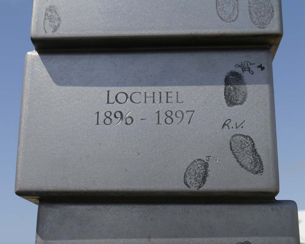 Thumbprints are from the descendents of South Sea Islanders brought to Australia to work in the cane fields. The names of transporting ships appear on each 'sugar cube'.