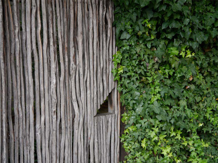 Textures evoke emotional responses: is this just a gate made of twigs or a doorway to Narnia?